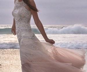 wedding, dress, and sea image