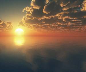 sun, sunset, and clouds image