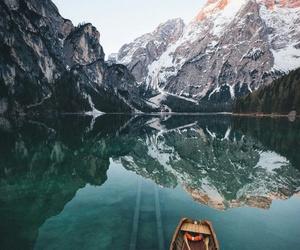boat, lake, and mountain image