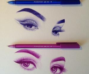 art, eyes, and blue image