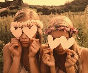 girls, heart, and spring image