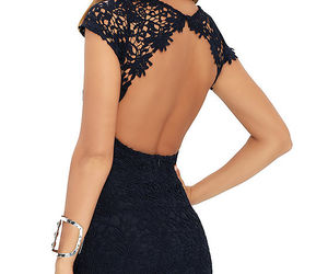 backless dress, girl, and outfit image