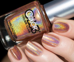 holographic, manicure, and nail art image