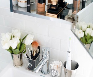 flowers, bathroom, and home image