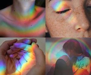 rainbow and girl image