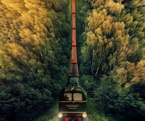train, travel, and green image
