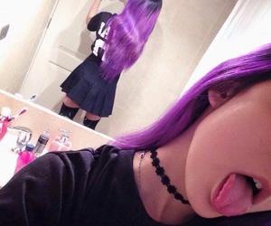 aesthetic, indie, and purple hair image