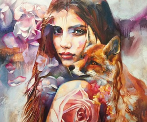 art, fox, and painting image