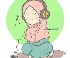 girl, listen, and quran image