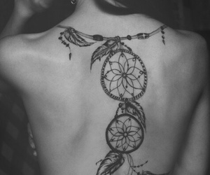 back tattoo, dark, and dream catcher image