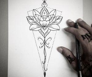 flower tattoo, tattoo design, and lotus image
