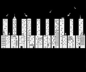 piano, city, and music image