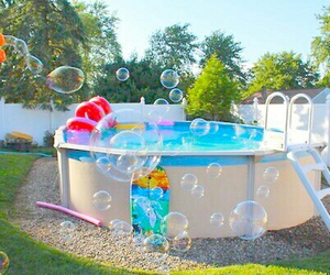 summer, bubbles, and pool image