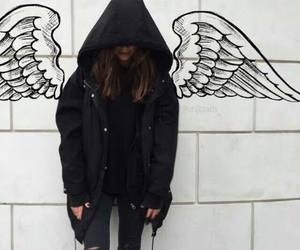 girl, angel, and black image
