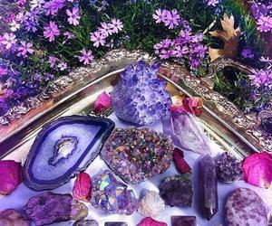 purple, crystal, and flowers image