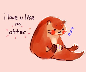 otter, love, and cute image