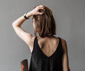 girl, black, and brunette image