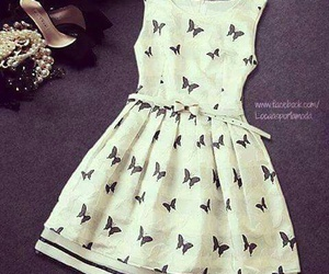 dress, white, and butterfly image