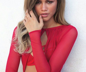hair, red dress, and make-up image