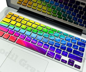 computer, keyboard, and rainbow image