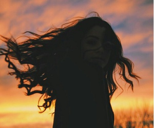 girl, sky, and hair image