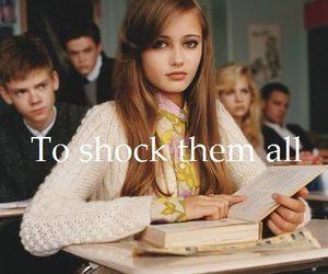 girl, school, and shock image