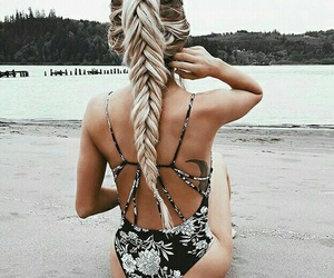 beach, hairstyle, and swimsuit image