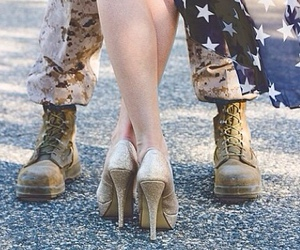 dress, heels, and military image