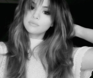 black, black and white, and selena gomez image