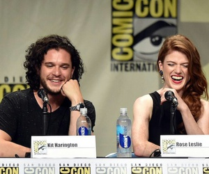rose leslie, kit harington, and game of thrones image