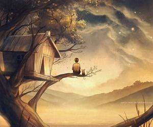 art, boy, and tree image