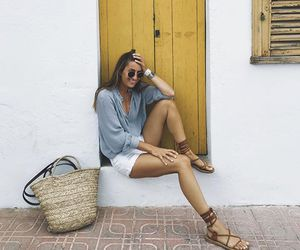 blogger, blue shirt, and fashion image