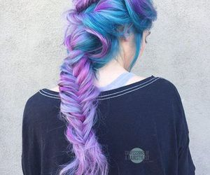 purple, blue, and girl image