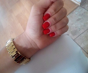 claudia, red, and gel nails image