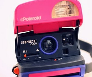 polaroid, camera, and pink image