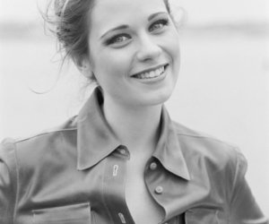 zooey deschanel, black and white, and smile image