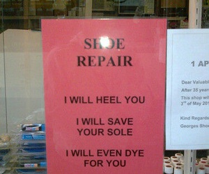 funny, repair, and shoes image
