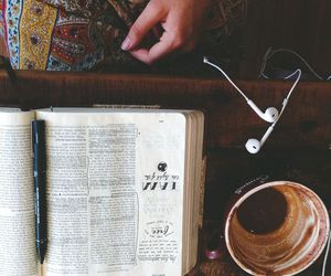book, coffee, and music image