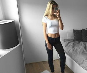 abs, black shoes, and blond hair image