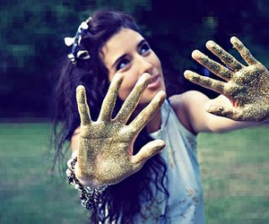 girl, glitter, and hands image