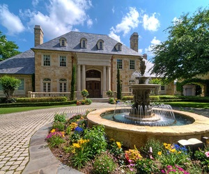 fountain, home, and mansion image