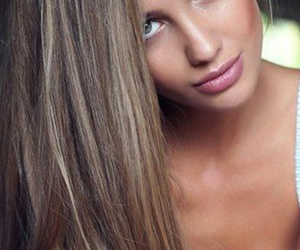 girl, gold, and highlights image