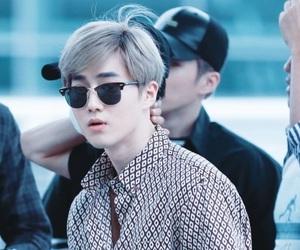 airport, kim junmyeon, and ash gray hair image