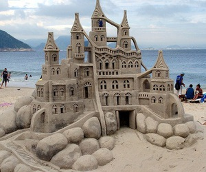 beach and sand castle image