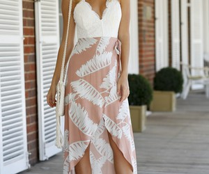 floral, maxi dress, and floral dress image