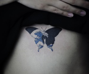 butterfly, tattoo, and sea image