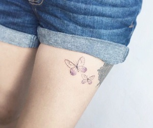 butterfly, leg tattoo, and legs image