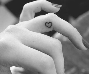 finger, heart, and tatto image