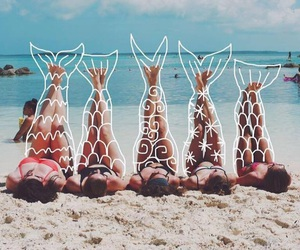 mermaid, beach, and summer image