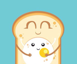 egg, bread, and cute image